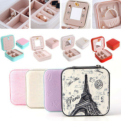 Leather Cosmetic Jewelry Box Ring Necklace Storage Travel Case Organizer Display