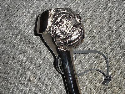 Chrome English Bulldog Head Handle Boot Shoe Horn NWT
