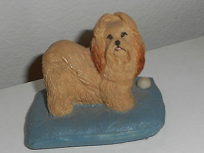 Vintage Earl Sherwan Charmstone Lhasa Apso Dog Handpainted Cold-Cast Marble