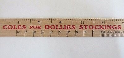 Vintage Wooden Ruler - Imperial and Metric - Coles for Dollies Stockings - 1970s