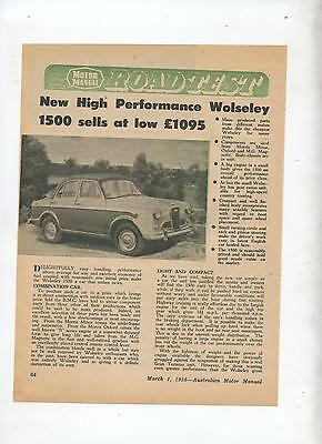Wolseley 1500 Original Road Test Article removed from a 1958 Magazine