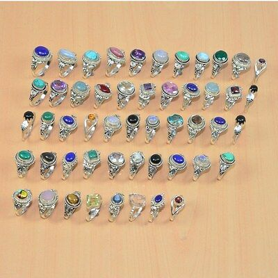 Wholesale 51Pc 925 Solid Sterling Silver Natural Lapis Lazuli Mix Stone Ring Lot