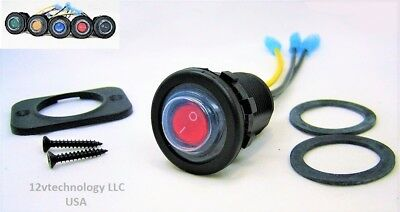 Waterproof Red LED Industrial Quality Rocker 12V Toggle Switch SPST Boat Round