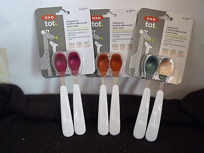 1 X OXO Tot Feeding Spoon Set with Soft Silicone -  RED, BLUE,PINK