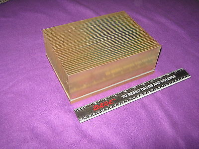 large aluminum heat sink, about 9 x 6.75 x3.5 inches, or 227x173x90 mm, 7.25 lbs