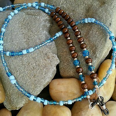 Glasses Chain - Brown Turquoise Wood & Glass Beads - Spectacle Cord - Neck Strap