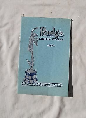 1931 Rudge Motorcycle Sales Brochure Rudge Whitworth T.T. Replica Ulster Sidecar