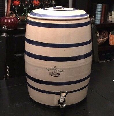 Vintage 6 Band Robinson Ransbottom Crown 4 Gallon Stoneware Water Cooler w/Lid