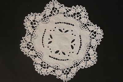Vintage off-white crochet and embroidery round doily