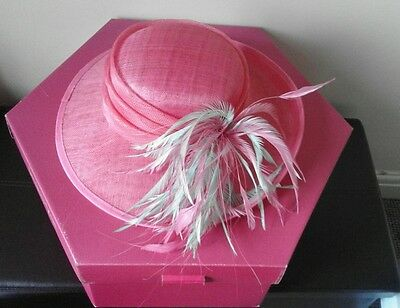 Ladies pink and aqua feather occasion hat wedding christening races