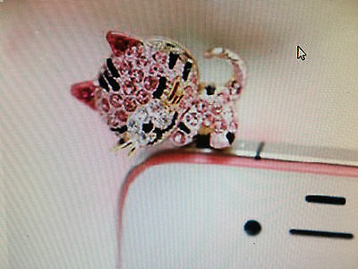 3.5mm Bling Crystal Cat Anti Dust Headphone Ear Jack Cap Plug For Mobile Phone