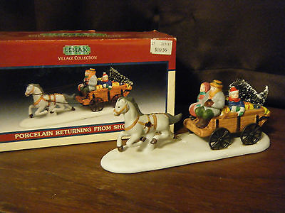 Lemax Village Collection Returning from Shopping Porcelain Excellent Condition!