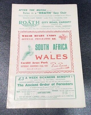 SOUTH AFRICA v WALES 1951 DECEMBER 22nd.OFFICIAL PROGRAMME GOOD CONDITION.