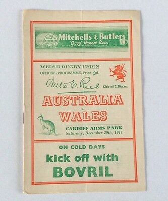 AUSTRALIA v WALES 1947 DECEMBER 20th OFFICIAL PROGRAMME VERY GOOD CONDITION.
