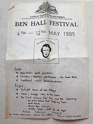Ben Hall Festival A4 Brochure Dated May 1985 Lachlan Vintage Village Forbes NSW