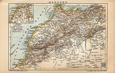1902 AFRICA MOROCCO Antique map DATED