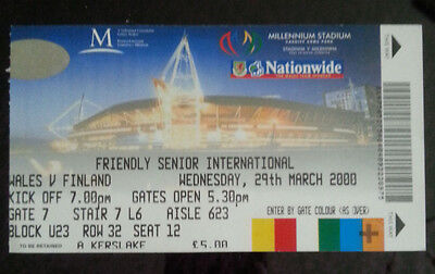 Wales v Finland - Friendly International - 29th March 2000 - Match Ticket
