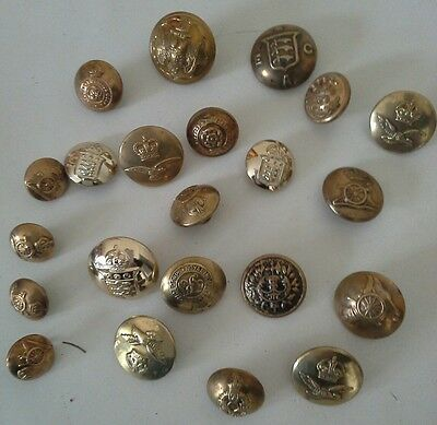 Collection of 21 Brass Vintage British Military Buttons