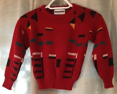 Vintage 1990s Kids Sweater Red Multi-color Geometric Size 7 Retro EUC (D)