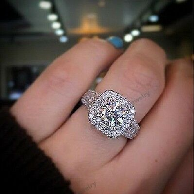Solid 14K White Gold Round Cut Diamond Solitaire Halo Engagement Ring 2.00 Ct