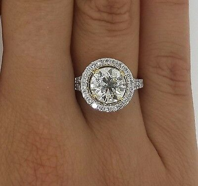 Ladies Round Cut Halo Diamond Engagement Wedding Ring With 14K White Gold Sz -7