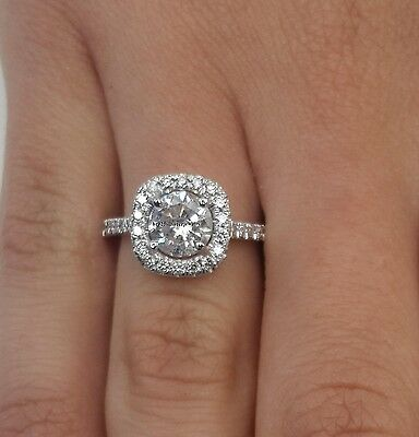 2.00 Ct Halo Round Cut Diamond Engagement Womens Ring VSS1/D 14K White Gold