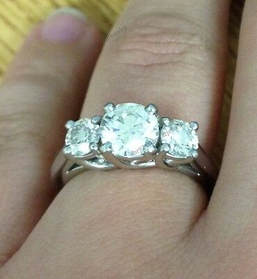Three-Stone 14K White Gold 925 Silver Round Cut Diamond Engagement Ring 3/4 Cttw