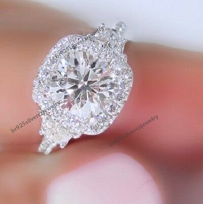 DVVS1 Engagement Ring 2 Carat Round Cut Diamond 14k White Gold Bridal Jewelry