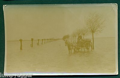 WHITTLESEA WASH IN FLOOD WITH E LISTER DELIVERY CART, vintage postcard