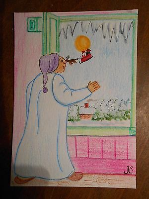 Original ACEO Pen & Pencil Drawing The Night Before Christmas, Open The Shutters