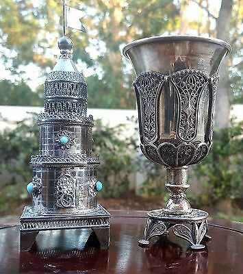 Antique Filigree Sterling Silver Turquoise Spice Tower & Kiddush Cup Judaica