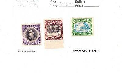 cook island  stamps112-114  MH  cv $56.00