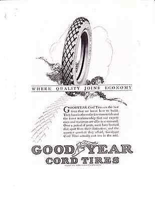 1922 Good Year Cord Tire Vintage Ad