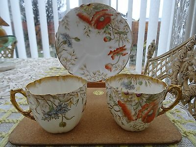 Aynsley China Poppy 9107 Pattern Saucer and Two Cups