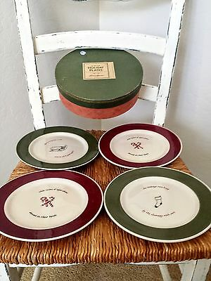Eddie Bauer Christmas Holiday Dessert Snack Plates Set Of Four New In Box
