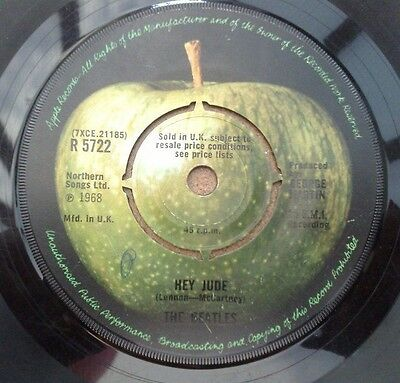 "Beatles  "" Hey Jude ""   Orig Uk 7"" Rare Ridged Centre"