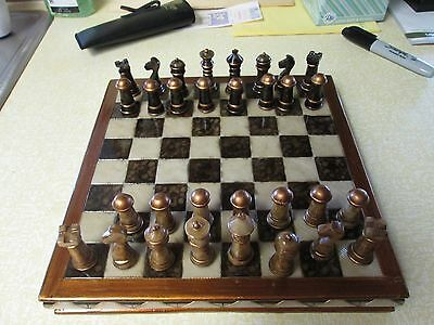 Unique Vintage Stone Chess Set and Board