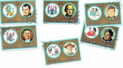Fujiera stamps 1972, Zodiacs and Famous Men. Six stamps