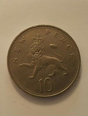 10p Ten Pence Coin British Decimal Currency 1973