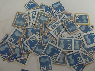 100 large letter 2nd class unfranked stamps on paper