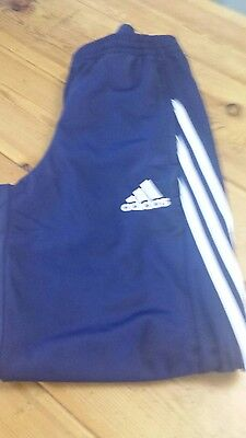 Adidas tracksuit bottoms navy and white mens small.