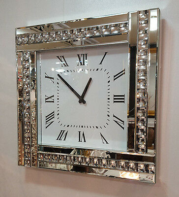 Modern Diamonte Crystal Mirrored Glass Square Wall Clock 45cm Clear Frame 918SIL