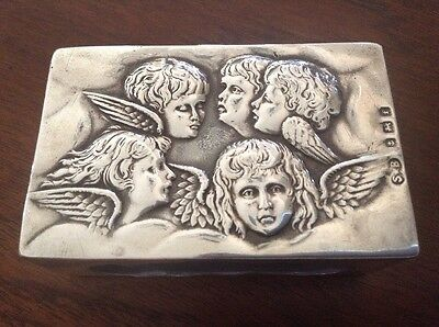 Antique Match Box Sterling Silver Cherubs Angels Hallmarked S ⭐️ B