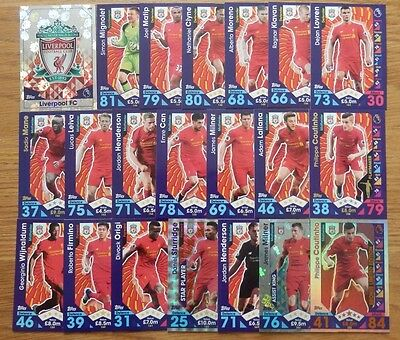 Match Attax 2016/17 LIVERPOOL Full Base Team Set / Coutinho Limited Edition