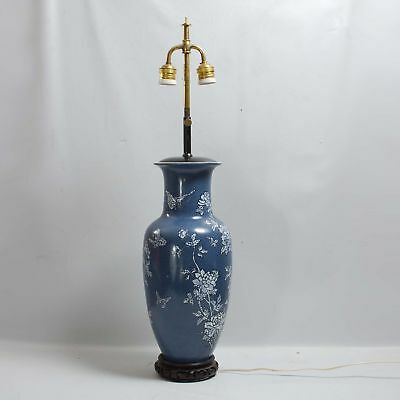 Contemporary Chinese Porcelain Vase Lamp Butterfly Chrysanthemum Decoration
