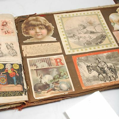 Unusual Scrap Book On Cloth Pages Charming Images Magazines Children's Books