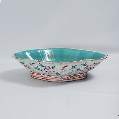 Lobed Oblong Chinese  Straits Ware Footed Bowl Turquoise Floral Flower Porcelain
