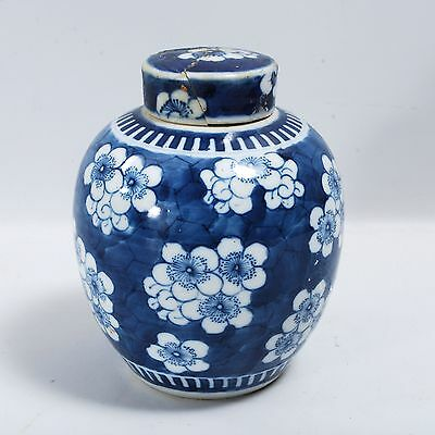 Small Blue And White Prunus Decorated Ginger Jar Chinese Porcelain Antique