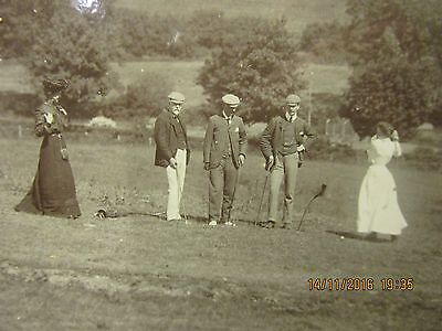 1904 dated photo of Female Golfers . Nice early Golfing Photo - 2 Female +3 men