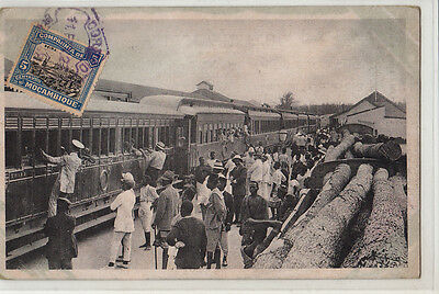 Mozambique Beira Animated Train Station Arrival Of Mail Postage Train Tcv Stamp